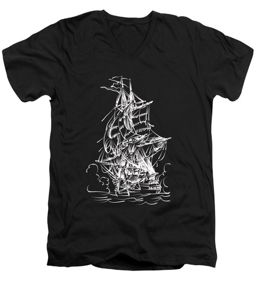 Men's V-Neck T-Shirt featuring the painting Sailing 2  by Andrzej Szczerski