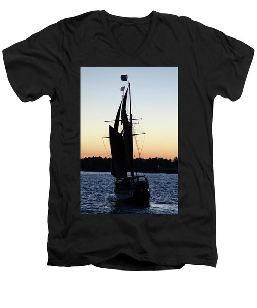 Sailing At Sunset Men's V-Neck T-Shirt