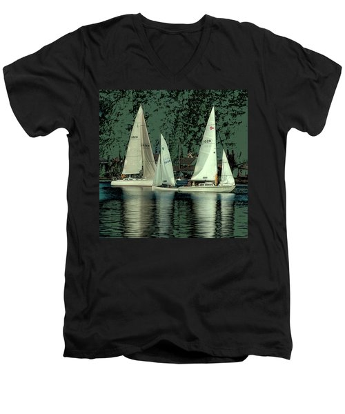 Men's V-Neck T-Shirt featuring the photograph Sailing Reflections by David Patterson