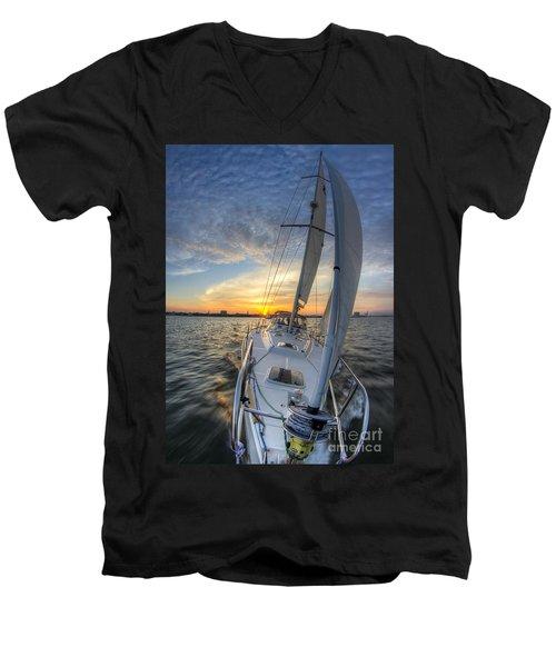 Sailing Sunset Sailboat Fate Charleston  Men's V-Neck T-Shirt
