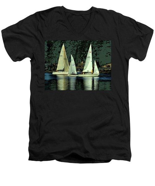 Sailing The Harbor Men's V-Neck T-Shirt