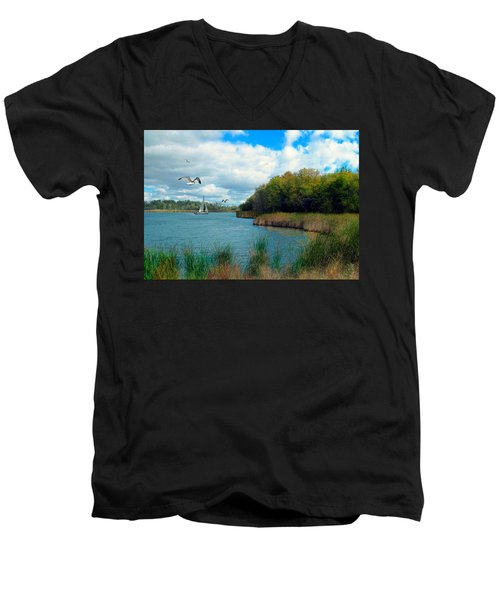 Sails In The Distance Men's V-Neck T-Shirt by Cedric Hampton