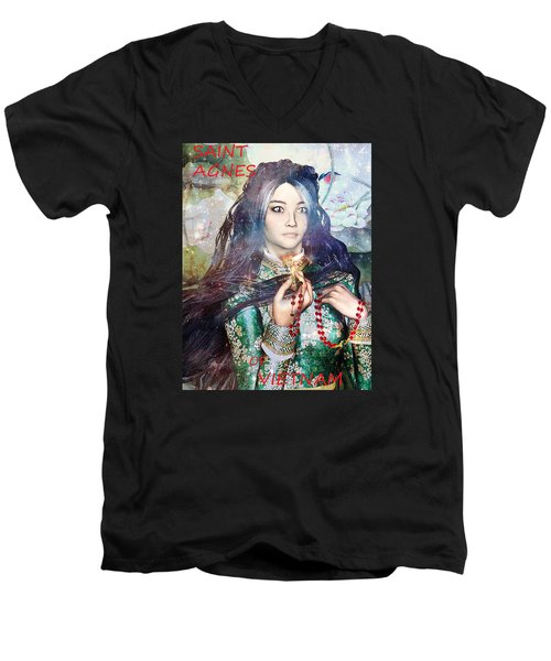Men's V-Neck T-Shirt featuring the painting Saint Agnes Le Thi Thanh by Suzanne Silvir