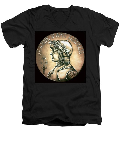 Saint Joan Of Arc Men's V-Neck T-Shirt by Fred Larucci