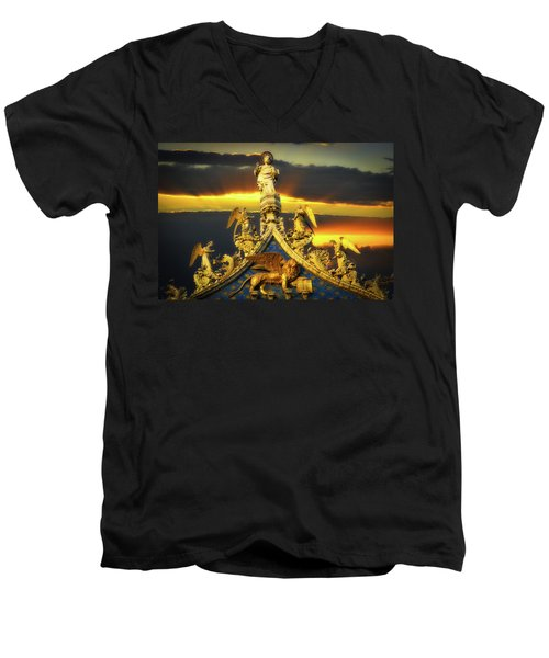 Men's V-Neck T-Shirt featuring the photograph Saint Marks Basilica Facade  by Harry Spitz