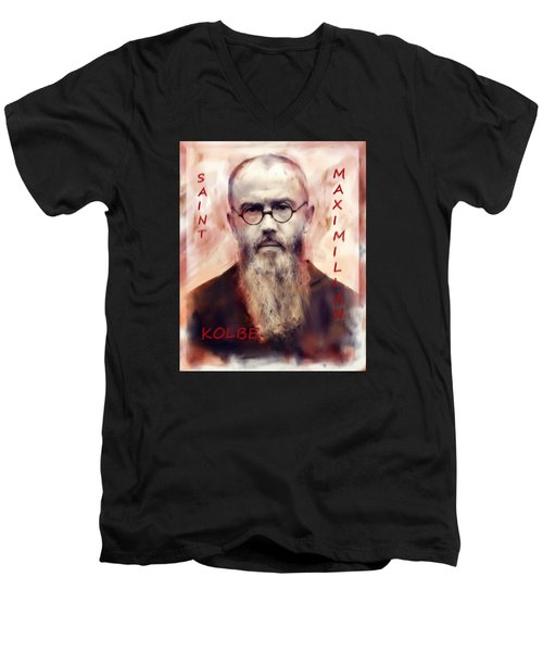 Men's V-Neck T-Shirt featuring the painting Saint Maximilion Kolbe by Suzanne Silvir