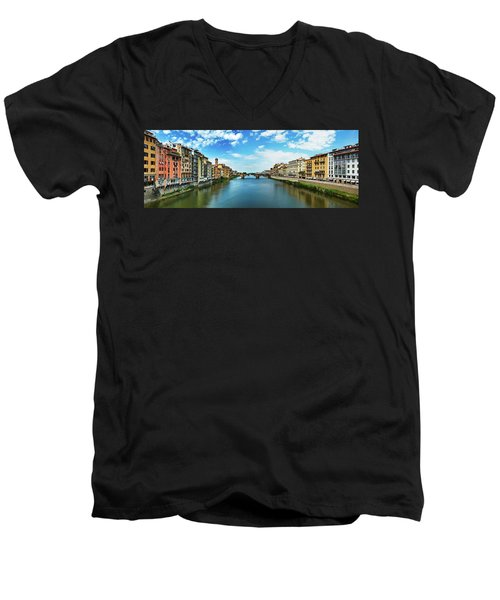 Panoramic View Of Saint Trinity Bridge From Ponte Vecchio In Florence, Italy Men's V-Neck T-Shirt