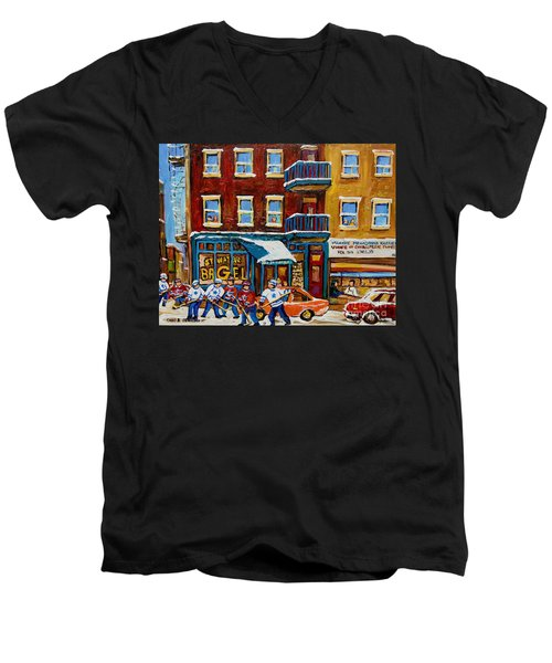 Men's V-Neck T-Shirt featuring the painting Saint Viateur Bagel With Hockey by Carole Spandau