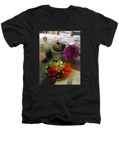 Salad And Dressing With Squash And Dahlia Men's V-Neck T-Shirt by Melissa Abbott