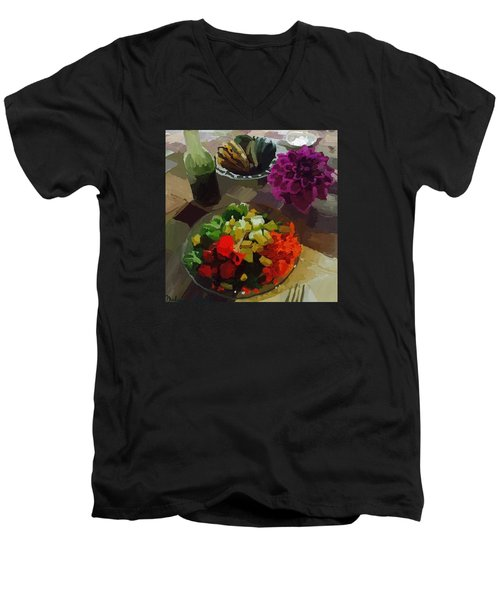 Salad And Dressing With Squash And Purple Dahlia Men's V-Neck T-Shirt