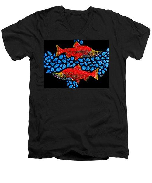 Salmon Men's V-Neck T-Shirt