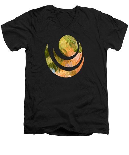 Salmon Mosaic Abstract Men's V-Neck T-Shirt by Christina Rollo