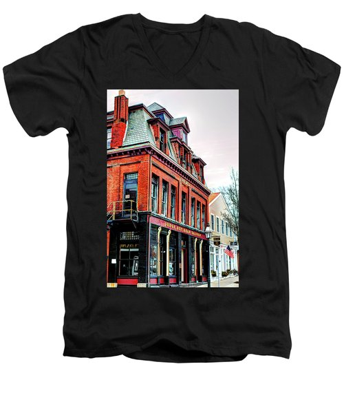 Men's V-Neck T-Shirt featuring the photograph Saloon Bristol Ri by Tom Prendergast