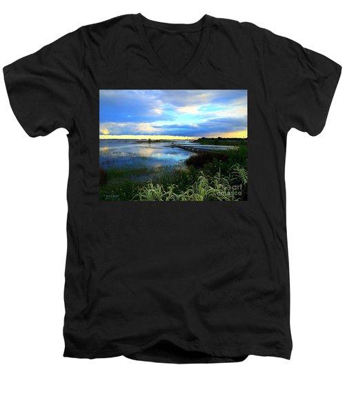 Salt Marsh Men's V-Neck T-Shirt by Shelia Kempf