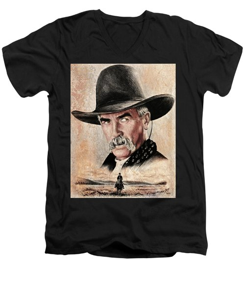 Sam Elliot The Lone Rider Sepia Men's V-Neck T-Shirt
