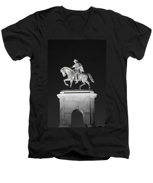 Sam Houston - Black And White Men's V-Neck T-Shirt