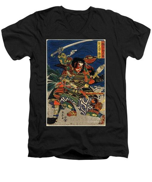 Samurai Warriors Battle 1819 Men's V-Neck T-Shirt by Padre Art