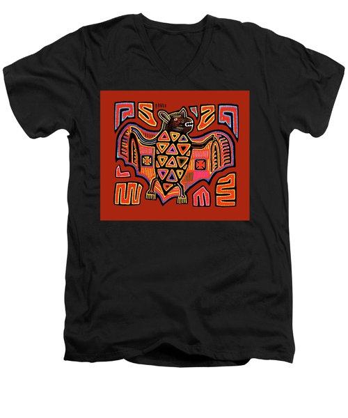 Men's V-Neck T-Shirt featuring the digital art San Blas Kuna Indian Bat by Vagabond Folk Art - Virginia Vivier