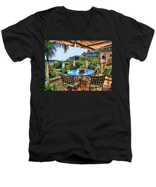 Men's V-Neck T-Shirt featuring the digital art San Clemente Estate Patio by Kathy Tarochione