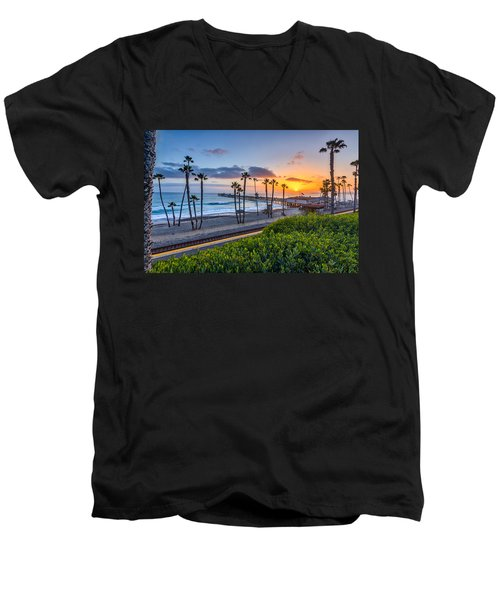 San Clemente Men's V-Neck T-Shirt by Peter Tellone