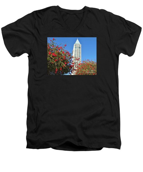 Men's V-Neck T-Shirt featuring the photograph San Diego Building In Blossom by Jasna Gopic
