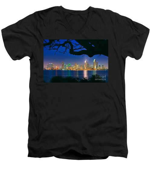 San Diego Skyline From Bay View Park In Coronado Men's V-Neck T-Shirt