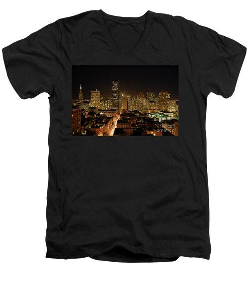 San Francisco At Night Men's V-Neck T-Shirt