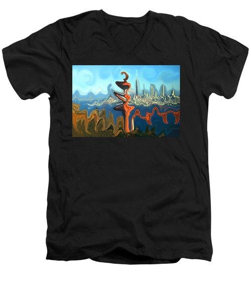 San Francisco Earthquake - Modern Artwork Men's V-Neck T-Shirt