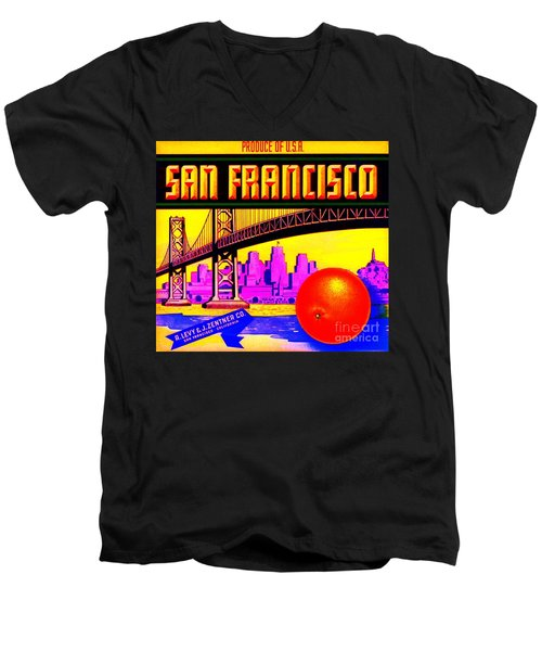 Men's V-Neck T-Shirt featuring the painting San Francisco Oranges by Peter Gumaer Ogden