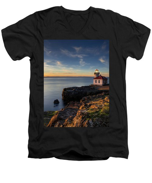 Men's V-Neck T-Shirt featuring the photograph San Juan Island Serenity by Dan Mihai