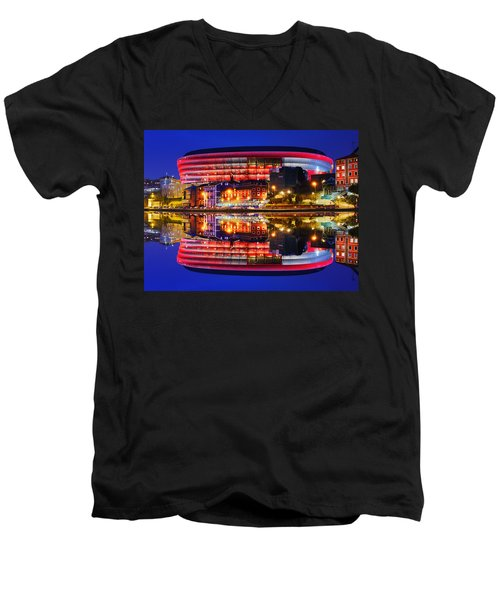 San Mames Stadium At Night With Water Reflections Men's V-Neck T-Shirt
