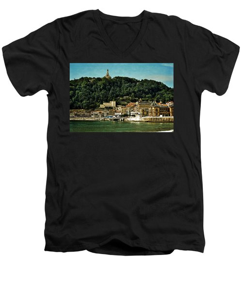 San Sebastian Spain Men's V-Neck T-Shirt by Mary Machare