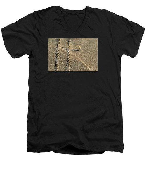 Sand Tracks  Men's V-Neck T-Shirt by Lyle Crump