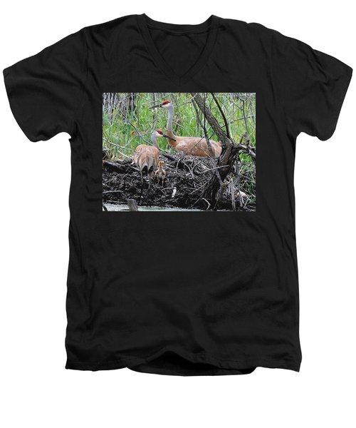 Sandhill Family  Men's V-Neck T-Shirt