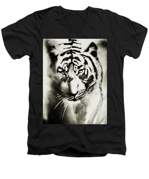 Sandy Tiger Men's V-Neck T-Shirt by Elena Vedernikova