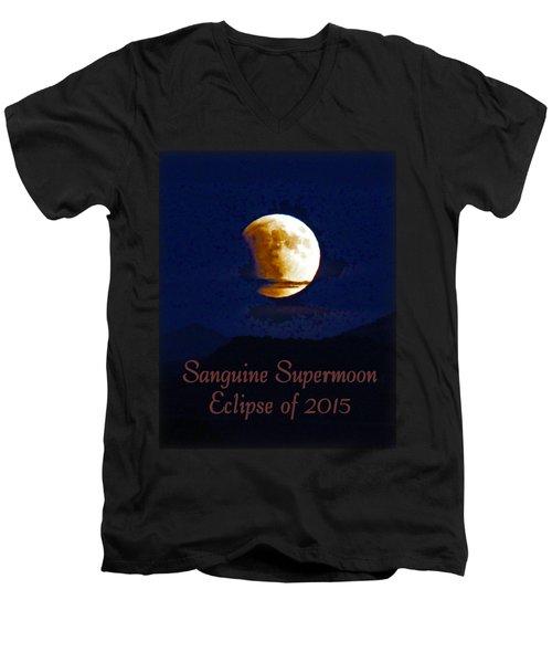 Sanguine Supermoon Eclipse 2015 Men's V-Neck T-Shirt