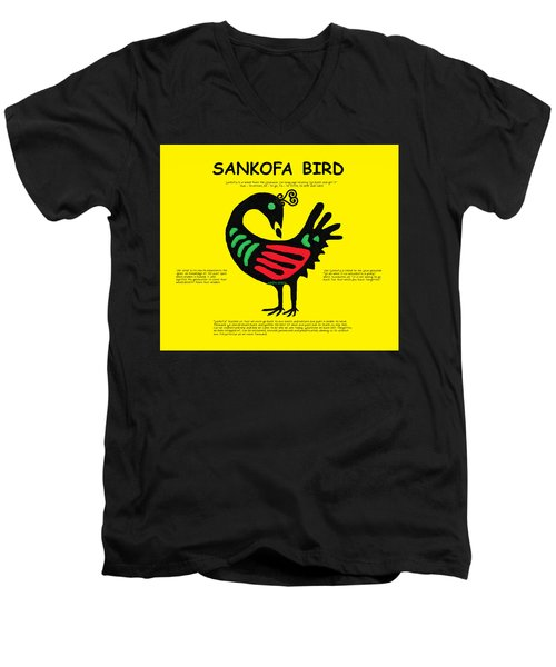 Sankofa Bird Of Knowledge Men's V-Neck T-Shirt