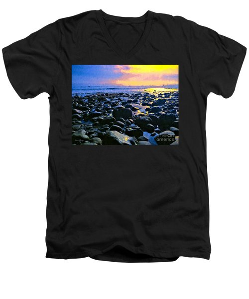 Santa Barbara Beach Sunset California Men's V-Neck T-Shirt