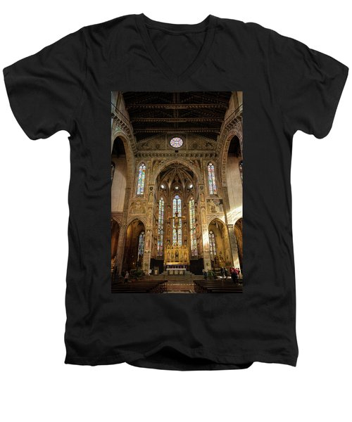 Men's V-Neck T-Shirt featuring the photograph Santa Croce Florence Italy by Joan Carroll