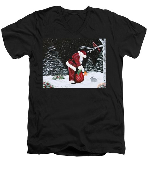 Santa Loves All Creatures Men's V-Neck T-Shirt