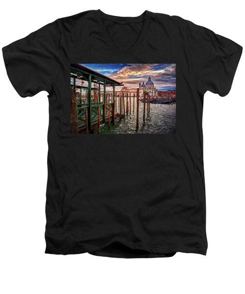 Santa Maria Della Salute From The Docks In Venice, Italy Men's V-Neck T-Shirt