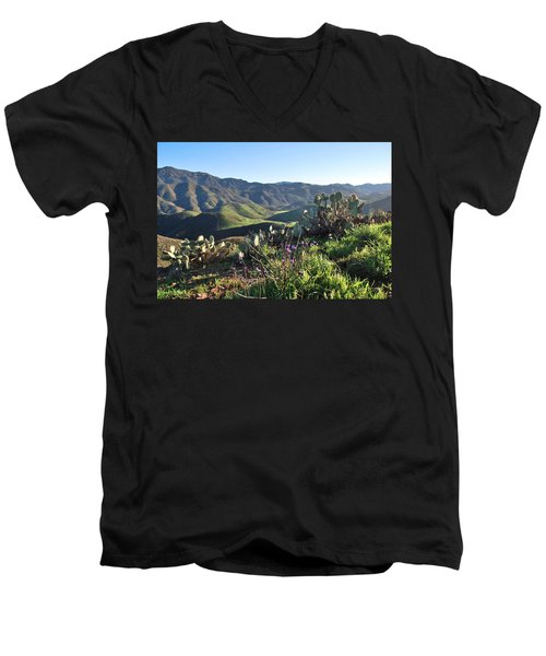 Santa Monica Mountains - Cactus Hillside View Men's V-Neck T-Shirt