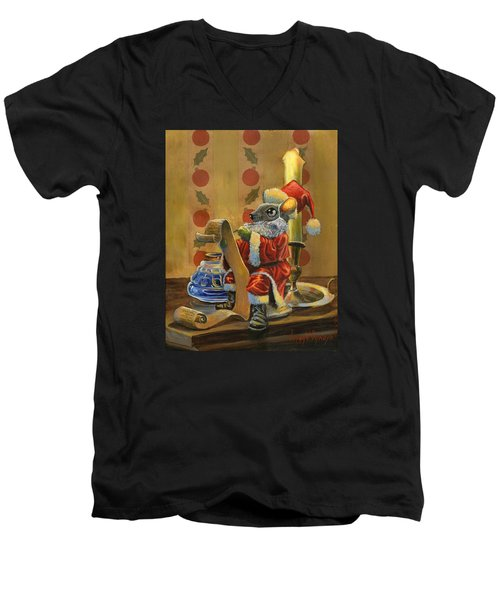 Santa Mouse Men's V-Neck T-Shirt