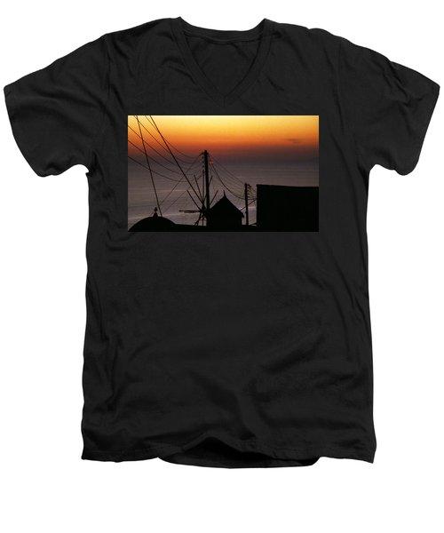 Santorini Men's V-Neck T-Shirt by David Gilbert