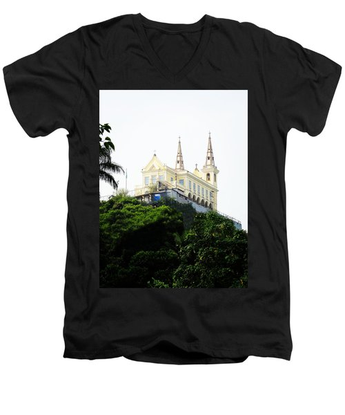 Men's V-Neck T-Shirt featuring the photograph Santuario Da Penha by Zinvolle Art