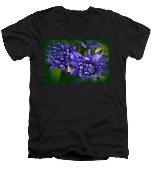 Sapphire Blue Chrysanthemums Men's V-Neck T-Shirt