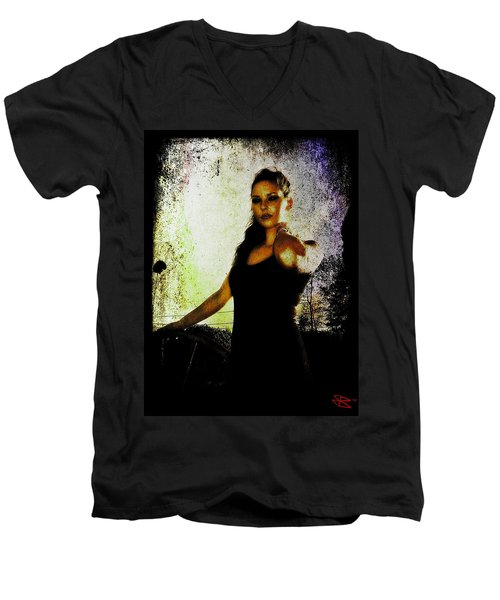 Men's V-Neck T-Shirt featuring the digital art Sarah 1 by Mark Baranowski