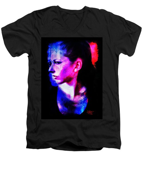 Men's V-Neck T-Shirt featuring the digital art Sarah 2 by Mark Baranowski
