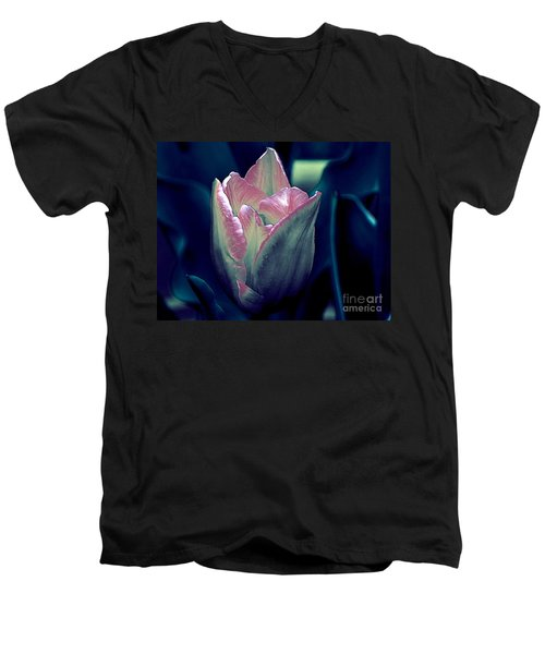 Men's V-Neck T-Shirt featuring the photograph Satin by Elfriede Fulda