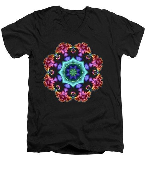Satin Rainbow Fractal Flower I Men's V-Neck T-Shirt